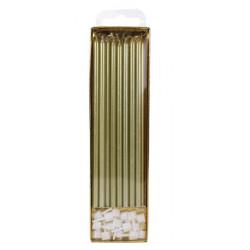 Bougies extra grandes 18 cm dorées x 16 Déco festive CA095