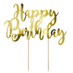 Cake topper Happy Birthday doré Cake Design KPT11-019M