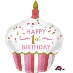 Ballon aluminium cupcake rose 1er anniversaire 73x91cm Déco festive 3452201