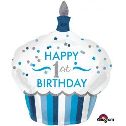 Ballon aluminium cupcake bleu 1er anniversaire 73x91cm Déco festive 3452301