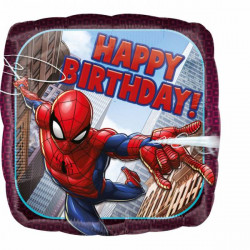 Ballon aluminium carré SpiderMan Happy Birthday 43 cm Déco festive 3466401
