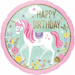 Ballon aluminium Licorne Magique Happy Birthday 43 cm Déco festive 3727201