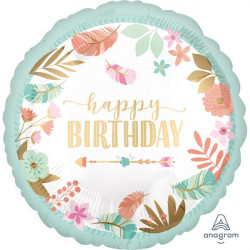 Ballon alumininium rond Happy Birthday fleurs 43 cm Déco festive 3864001