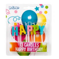 Set 13 bougies Happy Birthday sur bâtonnet Déco festive 31071