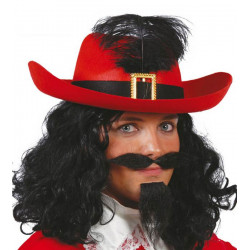 Chapeau mousquetaire feutre rouge adulte Accessoires de fête 13565