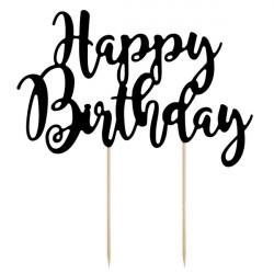 Cake topper Happy Birthday noir Cake Design KPT11-010