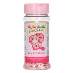 Confettis en sucre FunCakes roses et blancs bébé fille 50 g - Cake Design G41086