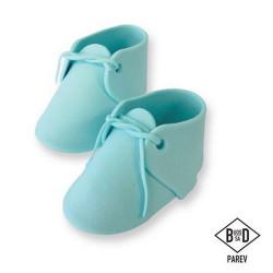 Cake topper chaussures bébé bleues comestibles x 2 - Cake Design PM160B