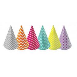 Sachet 6 chapeaux pointus Happy Color Déco festive 20202HC