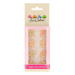 Décoration en sucre FunCakes pain d'épice x 8 - Cake Design FC71018