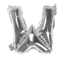 Ballon aluminium argent 36 cm lettre W Déco festive 22122