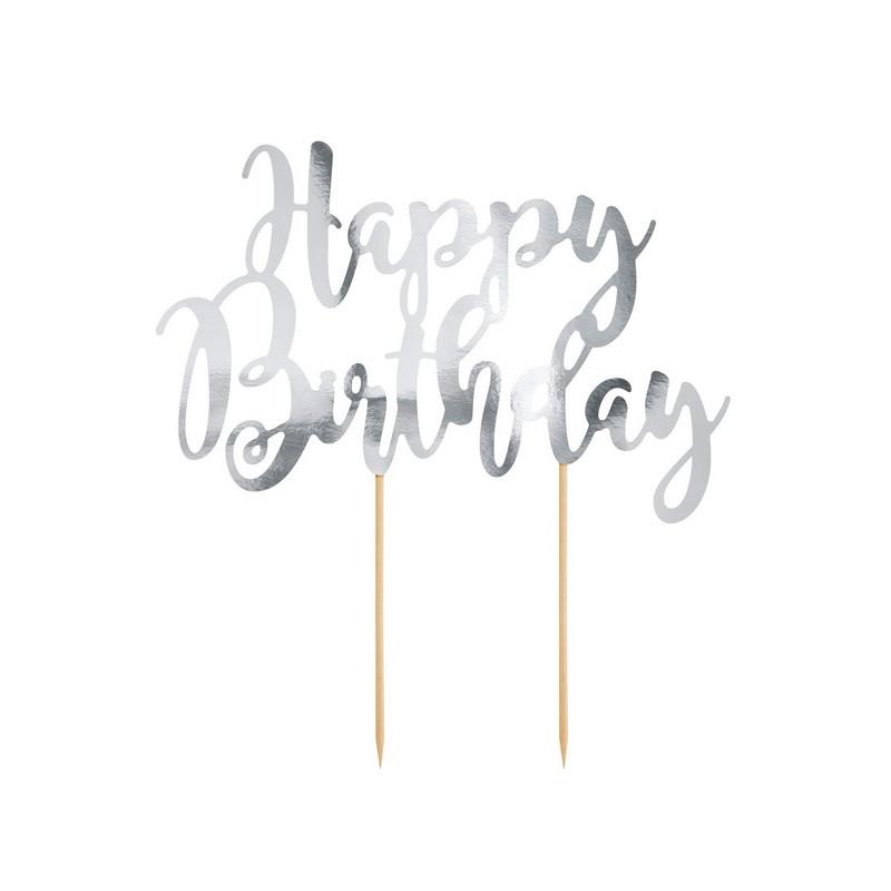 Cake topper Happy Birthday argenté Cake Design KPT11-018M