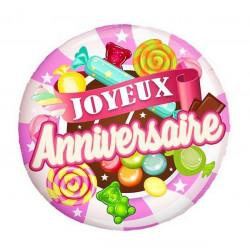 Ballon alu 45 cm Joyeux Anniversaire bonbon rose Déco festive 36500-2