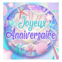 Ballon alu 45 cm Joyeux Anniversaire coquillages Déco festive 36500-5