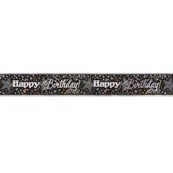 Bannière Happy Birthday noire scintillante 3.65 m Déco festive U58278LF