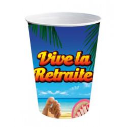 Gobelets carton Vive la Retraite 50 cl x 6 Déco festive CD3100