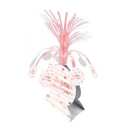 Centre de table Joyeux Anniversaire couleur blanc et rose doré Déco festive CD4615