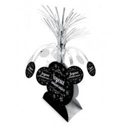 Centre de table Joyeux Anniversaire couleur noir et argent Déco festive CD4617