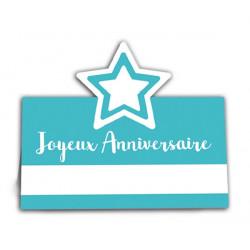 Marque place Joyeux Anniversaire x 6 bleu Déco festive CD3294