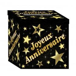 Urne carton noir et or Joyeux Anniversaire Déco festive CD1099