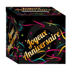 Urne carton noir et étoiles Joyeux Anniversaire Déco festive CD1554