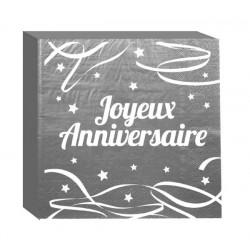 Serviettes jetables Joyeux Anniversaire x 12 gris argenté Déco festive CD4181-ARG
