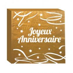 Serviettes jetables Joyeux Anniversaire x 12 Or Déco festive CD4181-OR