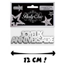 Confettis géants Joyeux Anniversaire x 20 argent Déco festive CD1384