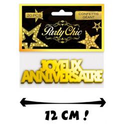 Confettis géants Joyeux Anniversaire x 20 Or Déco festive CD1385
