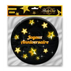 Assiettes carton Joyeux Anniversaire noires et or 6 pièces 17.5 cm Déco festive CD3963