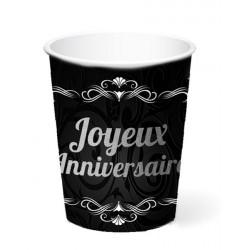 Gobelets carton noir et argent Joyeux Anniversaire 25 cl x 6 Déco festive CD4606