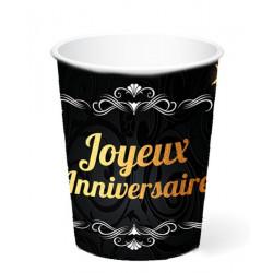 Gobelets carton noir et or Joyeux Anniversaire 25 cl x 6 Déco festive CD4607