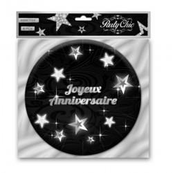 Assiettes carton Joyeux Anniversaire noires et argent 6 pièces 17.5 cm Déco festive CD3964