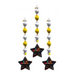 Suspensions étoiles Joyeux Anniversaire 73 cm x 3 Déco festive CD4231