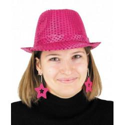 Boucles d'oreilles étoile x 2 néon rose Accessoires de fête 90650