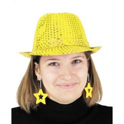 Boucles d'oreilles étoile x 2 néon jaune Accessoires de fête 90651