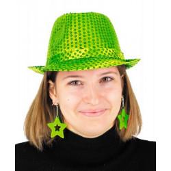 Boucles d'oreilles étoile x 2 néon vert Accessoires de fête 90652
