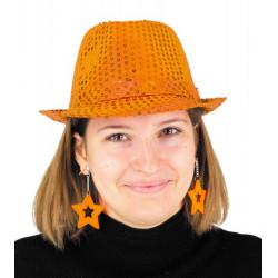 Boucles d'oreilles étoile x 2 néon orange Accessoires de fête 90653