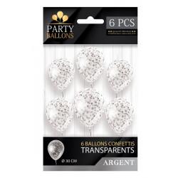 Sachet 6 ballons latex avec confettis argent 30 cm Déco festive CD5192-ARG