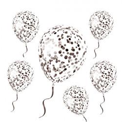 Sachet 6 ballons latex avec confettis noirs 30 cm Déco festive CD5192-NOI