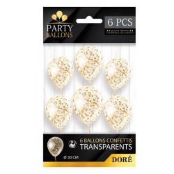 Sachet 6 ballons latex avec confettis Or 30 cm Déco festive CD5192-OR