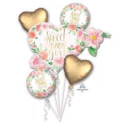 Bouquet 5 ballons alu floral bébé fille Déco festive 3851601