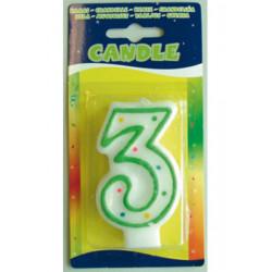Bougie anniversaire blanche avec pointillés chiffre 3 Déco festive 07783