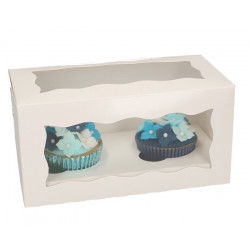 Boîte blanche pour 2 cupcakes x 5 Cake Design FC1202