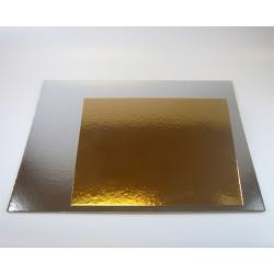 Support pour gâteau carré argent-or x 3 - 20 cm Cake Design FC2720SQ