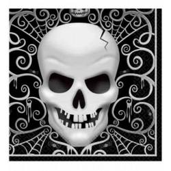Serviettes papier tête de mort 33 x 33 cm 16 pièces Déco festive 996762