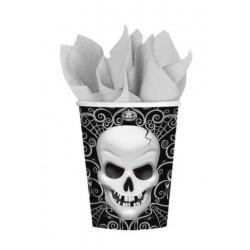 Gobelets carton tête de mort x 8 pièces 266 ml Déco festive 996761