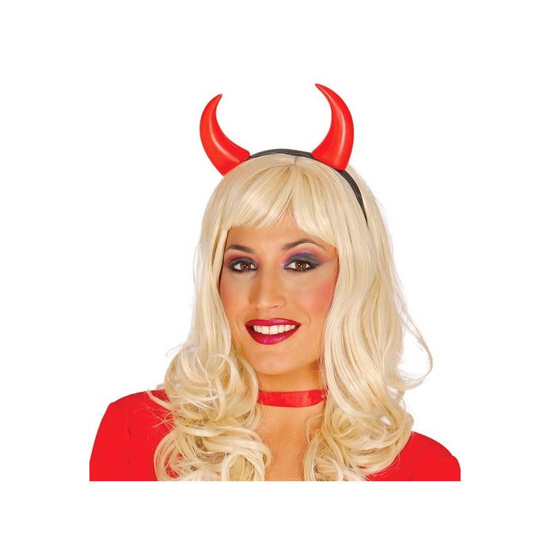 Serre-tête cornes de diable rouge Accessoires de fête 16664GUIRCA