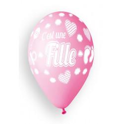 Sachet 10 ballons 30 cm C'est une fille rose bébé Déco festive BA21452