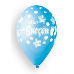 Sachet 10 ballons 30 cm C'est un garçon bleu bébé Déco festive BA21453